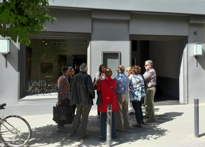"Members of the ""Friends of MNAC"" outside the entrance of our gallery"