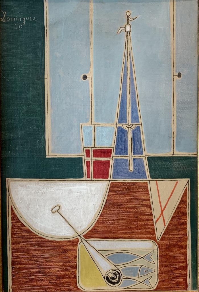 """Oscar Domínguez, """"Naturaleza muerta con sifón y lata de sardinas"""", 1950, óleo sobre tela 32 x 22 xm"""