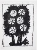 "M.Ángeles Ortiz, ""Test amb flors"" tinta sobre paper 26,9 x 19,5 cm."