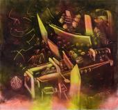 """Roberto Matta, """"Geyser de la mémoire"""", 1972-74 oli sobre tela 204 x 218 cm."""
