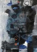 """Antoni Clavé, """"Guerrier"""", 1961 tècnica mixta sobre tela 100 x 73 cm."""