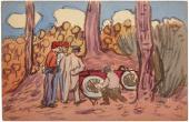 """Joaquín Torres-García, """"Ilustración"""", 1910 acuarela sobre papel 9 x 13,9 cm."""