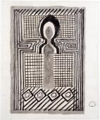"M.Ángeles Ortiz, ""Misteriosa Alhambra (Arc Àrab)"", c.1975 tinta i llapis sobre paper 34,3 x 28,4 cm."