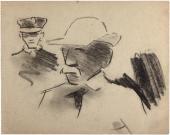 """Joaquín Torres-García, """"Hombre y chófer de N. Y."""", 1920 carbonet sobre paper 15,2 x 19,3 cm."""