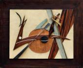 """César Domela, """"Relief nº 16"""", 1943 cobre, piel de tiburón y de cocodrilo, latón, madera, cuero 50 x 65 cm."""