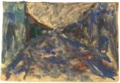 "Luís Claramunt, ""Paisatge"", 1985 watercolor on cardboard 23,5 x 34,5 cm."