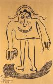 "Gaston Chaissac ""Bonhomme"" 1959 ink on Kraft paper 99 x 65 cm"