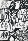 "Jean Dubuffet, ""Site avec 21 personnages"", 1980 ink on paper 51 x 35 cm."