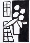 """M.Ángeles Ortiz, """"Ombres lluminoses i test"""" tinta i llapis sobre paper 24 x 16,5 cm."""