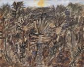 """Jean Dubuffet, """"Palmeraie avec petit soleil jaune"""", 1948 guaix sobre paper 43,5 x 54,2 cm."""