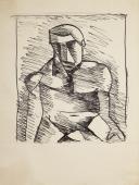 """Joaquín Torres-García, """"Figura primitiva"""", c.1928 tinta sobre paper 21,7 x 16,4 cm."""