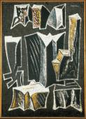 """Alberto Magnelli, """"Pierres n º 6 G"""", 1933 témpera sobre paper sobre tela 116 x 83 cm."""