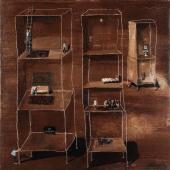 """Ignacio Iturria, """"Los vecinos"""", 2007 óleo sobre tela 100 x 100 cm."""