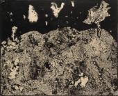 """Jean Dubuffet, """"Paysage aux nuages tachetés"""", 1955 tinta sobre papel 50 x 62,5 cm."""