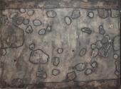 """Jean Dubuffet, """"Topographies Pierres sur le chemin"""", 1958 gouache y collage sobre papel sobre tela 48 x 63 cm."""