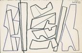 """Alberto Magnelli, """"Etude pour Valeurs en couleur"""", c.1967 retolador sobre paper 13,6 x 21 cm."""