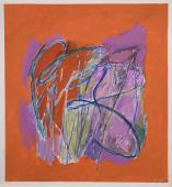 """Alberto Solsona, """"Tema vegetal en violetas sobre naranja"""", 1987 acrílico, gouache y tinta sobre papel 67 x 63 cm."""