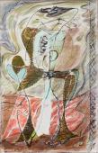 """André Masson, """"Étude pour 'Composition'"""", 1930 oli, guaix i pastel sobre tela 115 x 73 cm."""