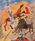 """André Masson, """"Étude pour les chevaux éventrés"""", 1935-36 tinta y acuarela sobre papel 18,5 x 16 cm."""