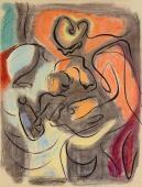 """André Masson, """"Maternité"""", 1946 tinta y pastel sobre papel 63 x 48,5 cm."""