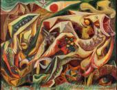 """André Masson, """"Paysage en forme de poisson"""", 1941 óleo sobre tela 36 x 46 cm."""