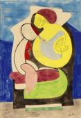 """Auguste Herbin, """"Maternité"""", 1927 aquarel·la sobre paper 26 x 18 cm."""
