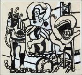 """Fernand Léger, """"Le trapéziste et l'ecuyère"""", 1953 guaix,aquarel·la, tinta i llapis sobre paper 32,4 x 36,2 cm."""