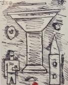 """Torres-García, """"Gran copa constructiva"""", 1935 tinta sobre paper 14,5 x 11,5 cm"""