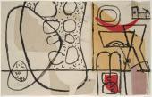 """Le Corbusier, """"Simla"""", 1956 collage y tinta sobre papel 21,5 x 34,5 cm, © FLC/ADAGP Paris, 2017"""