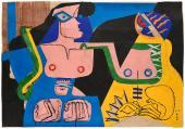 """Le Corbusier, """"Deux femmes fantastiques"""", 1961 collage, gouache, tinta y carboncillo sobre papel 69 x 99 cm © FLC/ADAGP Paris, 2017"""