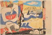"""Le Corbusier, """"Deux musiciennes sur la plage"""", 1937 pastel lavé y tinta sobre papel 21 x 30,5 cm © FLC/ADAGP Paris, 2017"""
