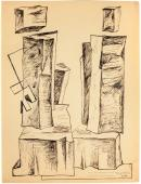 "Alberto Magnelli, ""Pierres, 8 août"", 1931 ink on paper 33,5 x 25 cm."
