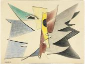 "Alberto Magnelli, ""Sans titre"", 1936 ink, pencil and colored pencils on paper 36 x 46,2 cm."