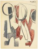 """Alberto Magnelli, """"Sans titre"""", 1936 tinta, llapis i llapis de colors sobre paper 26,5 x 21cm."""