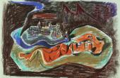 """André Masson, """"Toledo"""", 1943 pastel sobre papel 48 x 63,5 cm."""