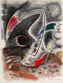 """André masson, """"Combat d'oiseaux"""", c.1940 pastel on paper 63,5 x 48,5 cm"""
