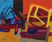 """Maurice Esteve, """"La charrue"""", 1948 oli sobre tela 22 x 27,5 cm."""