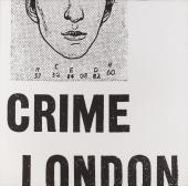"Joan Rabascall, ""Crime London"", 1971 photografic emulsion on canvas 120 x 120 cm"
