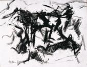 """Esteban Vicente, """"Sin título"""" 1964 ink and charcoal on paper 37 x 47,5 cm"""