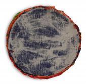 """Xavier Escribà, """"La face 'au culte' de la peinture (bleue)"""", 2001 acrílico sobre tela 83 cm."""