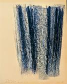 "Hans Hartung, ""Untitled"", 1968 pastel and 'grattage' on paper 34,3 x 26 cm"