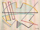 "Alberto Magnelli, ""Sans titre"", 1959, rotuladores de colores sobre papel de tapicería, 47,5 x 63,5 cm"