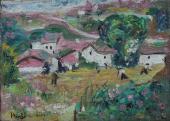 """Joan Miró, """"Village"""", 1915 oli sobre tela sobre cartolina 16 x 22 cm © Successió Miró 2020"""