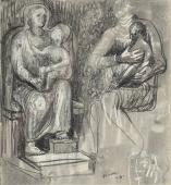 "Henry Moore, ""Madonna and child studies"", 1943 ceras, tinta y carboncillo sobre papel 19,1 x 17,5 cm"