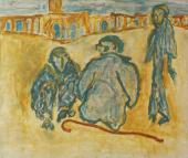 "Luis Claramunt, ""Tres figuras en la plaza"", 1986 oil on canvas 132 x 155 cm"
