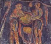 """Luis Claramunt, """"Tintoreros negros"""", 1986 oli sobre tela 130 x 148 cm"""