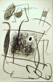 """Joan Miró, """"Personnage, chien, échelle de l'évasion"""", 1977, ceras sobre carton, 50 x 32,5 cm"""