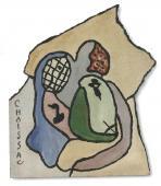 "Gaston Chaissac, ""Sans titre"", c.1961, óleo sobre papel sobre madera 74 x 63 cm"