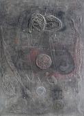 """Modest Cuixart, """"Homenaje a Eude"""", 1959 tècnica mixta sobre tela 280 x 200 cm."""