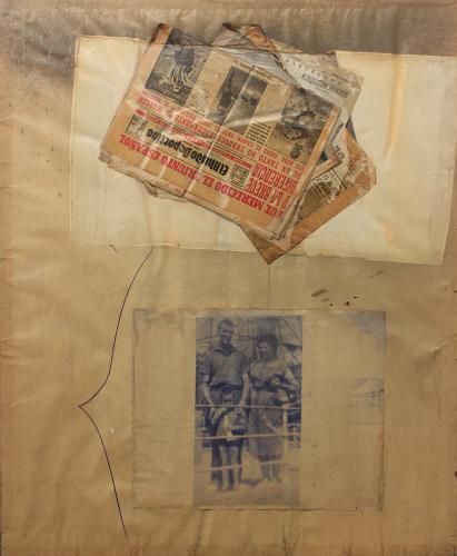"Vicenç Viaplana, ""Vides provocades 2"", 1976 transfer i collage de papers sobre paper emulsionat 112,5 x 100 cm"